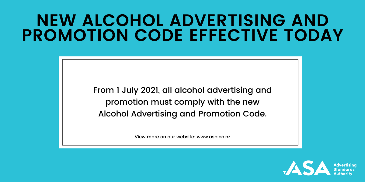 Alcohol Advertising and Promotion Code effective today